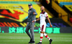WATFORD, ENGLAND - JUNE 28: (L) Ralph Hasenhuttl and (R) Nathan Redmond during the Premier League match between Watford FC and Southampton FC at Vicarage Road on April 4, 2020 in Watford, United Kingdom. (Photo by Matt Watson/Southampton FC via Getty Images)