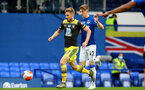 SOUTHAMPTON, ENGLAND - JULY 09: Stuart Armstrong (L) and Anthony Gordon (R) during the Premier League match between Everton FC and Southampton FC at Goodison Park on July 9, 2020 in Liverpool, United Kingdom. Football Stadiums around Europe remain empty due to the Coronavirus Pandemic as Government social distancing laws prohibit fans inside venues resulting in games being played behind closed doors. (Photo by Matt Watson/Southampton FC)