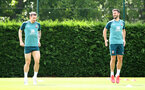 SOUTHAMPTON, ENGLAND - JULY 18: Pierre-Emile Højbjerg(L) and Shane Long during a Southampton FC training session at the Staplewood Campus on July 18, 2020 in Southampton, England. (Photo by Matt Watson/Southampton FC via Getty Images)