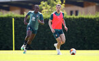 SOUTHAMPTON, ENGLAND - JULY 22: Dan N'Lundulu(L) and Pierre-Emile Højbjerg(R) during a Southampton FC training session at the Staplewood Campus on July 22, 2020 in Southampton, England. (Photo by Matt Watson/Southampton FC via Getty Images)