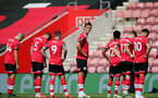 SOUTHAMPTON, ENGLAND - JULY 26: Jannik Vestergaard (center) ahead of the Premier League match between Southampton FC and Sheffield United at St Mary's Stadium on April 17, 2020 in Southampton, United Kingdom. (Photo by Chris Moorhouse/Southampton FC via Getty Images)