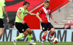 SOUTHAMPTON, ENGLAND - JULY 26: Sander Berge (L) of Sheffield and Stuart Armstrong (R) of Southampton during the Premier League match between Southampton FC and Sheffield United at St Mary's Stadium on April 17, 2020 in Southampton, United Kingdom. (Photo by Chris Moorhouse/Southampton FC via Getty Images)
