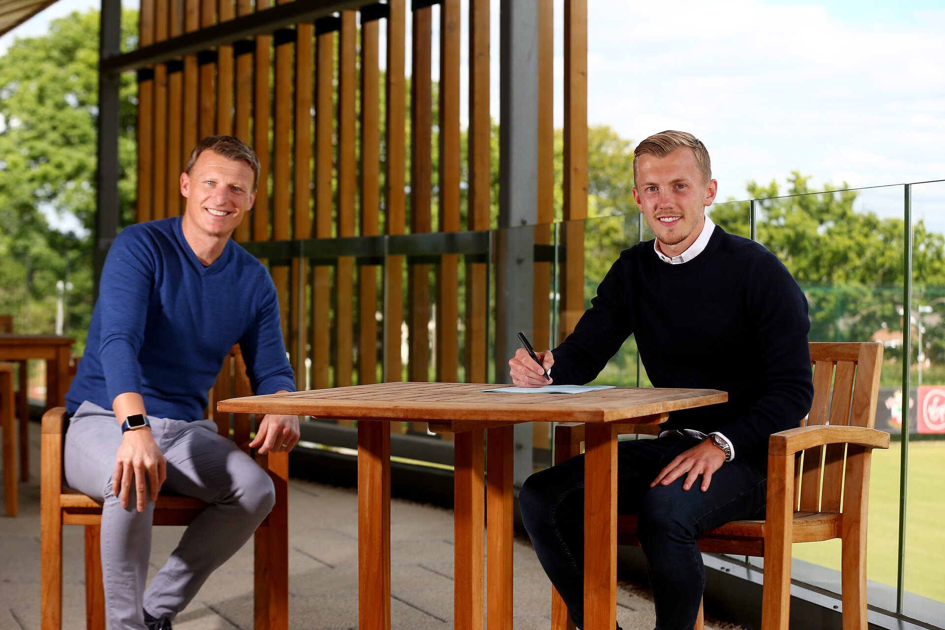 SOUTHAMPTON, ENGLAND - JULY 28: James Ward-Prowse(R) signs a new 5 year contract with Southampton FC, pictured with Matt Crocker(L) at the Staplewood Campus on July 28, 2020 in Southampton, England. (Photo by Matt Watson/Southampton FC via Getty Images)
