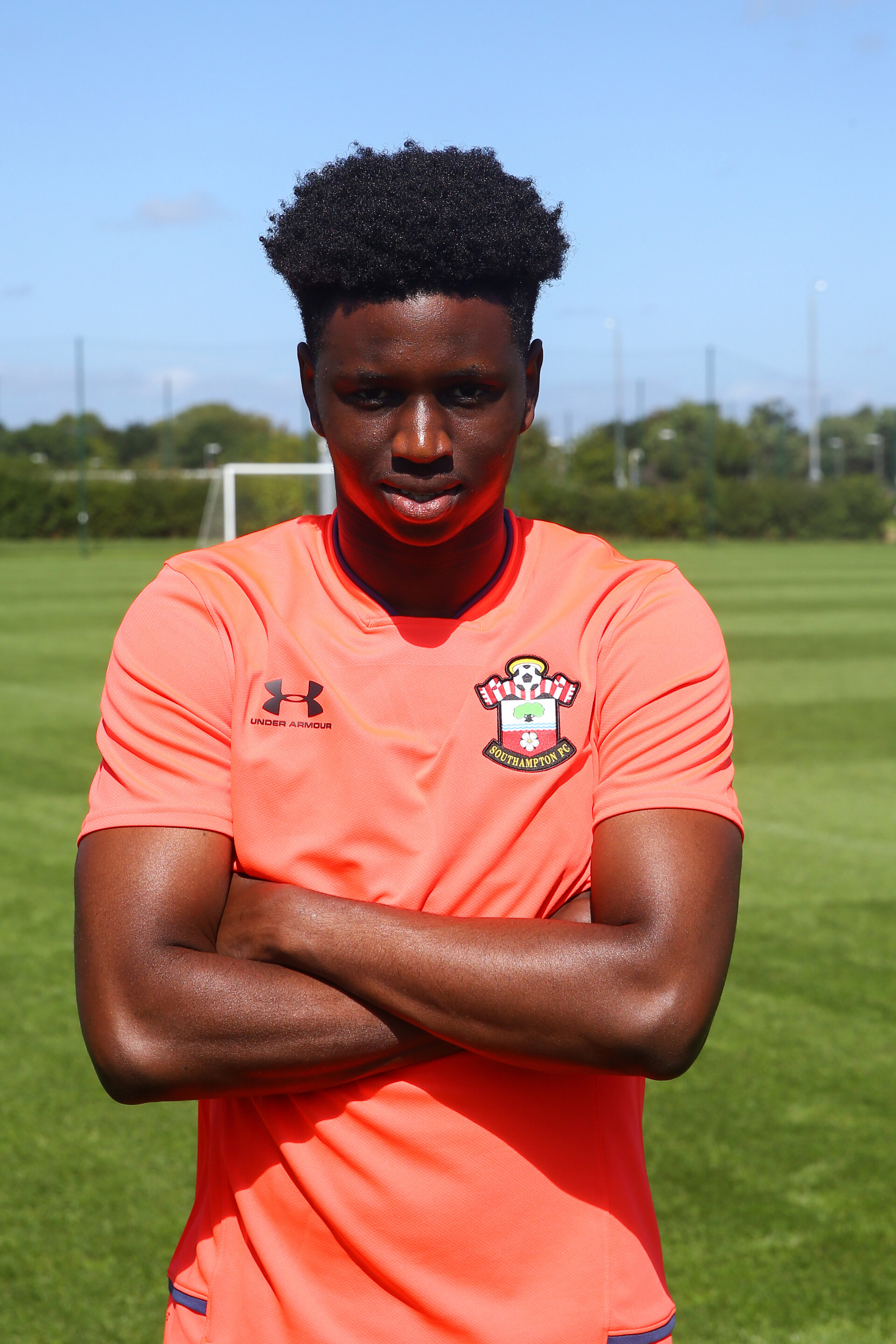 SOUTHAMPTON, ENGLAND - August 20: David Agbontahoma who signed his first professional contract at Staplewood Training ground on August 20, 2020 in Southampton, England. (Photo by Isabelle Field/Southampton FC via Getty Images)