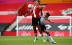 SOUTHAMPTON, ENGLAND - AUGUST 29: Jannik Vestergaard(L) during a pre-season friendly between Southampton FC and Swansea City at St Marys Stadium, on August 29, 2020 in Southampton, England. (Photo by Matt Watson/Southampton FC via Getty Images)