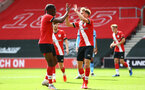 SOUTHAMPTON, ENGLAND - SEPTEMBER 1: Dan N'Lundulu (L) and Jake Vokins (R) celebration Jake Vokins goal during a pre-season friendly match between Southampton U23 and Coventry City at St Mary's Stadium on September 1, 2020 in Southampton, United Kingdom. (Photo by Isabelle Field/Southampton FC)