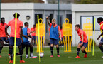 LONDON, ENGLAND - SEPTEMBER 15: Josh Sims (center) during B Team training session Staplewood Training Ground on September 15, 2020 in Southampton, United Kingdom. (Photo by Isabelle Field/Southampton FC via Getty Images)