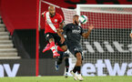 SOUTHAMPTON, ENGLAND - SEPTEMBER 16: Nathan Redmond (L) of Southampton during the second round of the Carabao Cup match between Southampton FC and Brentford FC at St. Mary's Stadium on September 16, 2020 in Southampton, England. (Photo by Chris Moorhouse/Southampton FC via Getty Images)