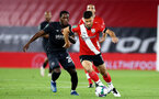 SOUTHAMPTON, ENGLAND - SEPTEMBER 16: Shane Long (L) of Southampton during the second round of the Carabao Cup match between Southampton FC and Brentford FC at St. Mary's Stadium on September 16, 2020 in Southampton, England. (Photo by Matt Watson/Southampton FC via Getty Images)