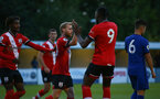 SOUTHAMPTON, ENGLAND - SEPTEMBER 18: Josh Sims (L) celebrating his goal with Dan N'Lundulu (R) during the Premier League 2 match between Southampton FC B Team and Chelsea FC at Snows Stadium on September 18, 2020 in Southampton, England. (Photo by Isabelle Field/Southampton FC via Getty Images)