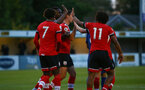 SOUTHAMPTON, ENGLAND - SEPTEMBER 18: southampton players celenbrating Josh Sims goal during the Premier League 2 match between Southampton FC B Team and Chelsea FC at Snows Stadium on September 18, 2020 in Southampton, England. (Photo by Isabelle Field/Southampton FC via Getty Images)