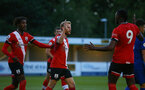 SOUTHAMPTON, ENGLAND - SEPTEMBER 18: Josh Sims (center) celebrating goal with team mates during the Premier League 2 match between Southampton FC B Team and Chelsea FC at Snows Stadium on September 18, 2020 in Southampton, England. (Photo by Isabelle Field/Southampton FC via Getty Images)