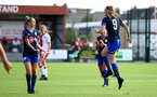 SOUTHAMPTON, ENGLAND - SEPTEMBER 20: Ella Pusey (R) celebrates goal during the FAWNL match between Southampton Women and Poole Town FC at Specsavers County Ground on September 20, 2020 in Poole, England. (Photo by Isabelle Field/Southampton FC via Getty Images)