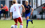 SOUTHAMPTON, ENGLAND - SEPTEMBER 20: Shannon Albuery (R) of Southampton during the FAWNL match between Southampton Women and Poole Town FC at Specsavers County Ground on September 20, 2020 in Poole, England. (Photo by Isabelle Field/Southampton FC via Getty Images)
