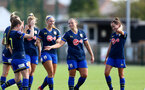 SOUTHAMPTON, ENGLAND - SEPTEMBER 20: Shannon Siewright celebrates goal with team mates during the FAWNL match between Southampton Women and Poole Town FC at Specsavers County Ground on September 20, 2020 in Poole, England. (Photo by Isabelle Field/Southampton FC via Getty Images)