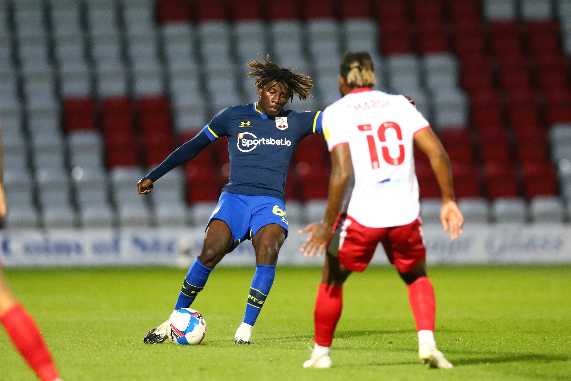STEVENAGE, ENGLAND - SEPTEMBER 22: during the EFL Trophy match between Stevenage FC and Southampton FC B Team  at the Lamex Stadium on September 22, 2020 in Stevenage, England. (Photo by Isabelle Field/Southampton FC via Getty Images)