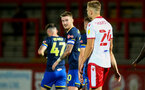 STEVENAGE, ENGLAND - SEPTEMBER 22: Callum Slattery (L) of Southampton during the EFL Trophy match between Stevenage FC and Southampton FC B Team  at the Lamex Stadium on September 22, 2020 in Stevenage, England. (Photo by Isabelle Field/Southampton FC via Getty Images)