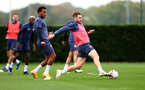 SOUTHAMPTON, ENGLAND - SEPTEMBER 23: Ryan Bertrand(L) and Stuart Armstrong during a Southampton FC training session at the Staplewood Campus on September 23, 2020 in Southampton, England. (Photo by Matt Watson/Southampton FC via Getty Images)
