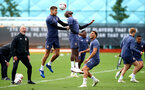 SOUTHAMPTON, ENGLAND - SEPTEMBER 24: Jan Bednarek(L) and Moussa Djenepo during a Southampton FC training session at the Staplewood Campus on September 24, 2020 in Southampton, England. (Photo by Matt Watson/Southampton FC via Getty Images)