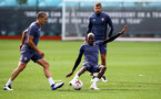 SOUTHAMPTON, ENGLAND - SEPTEMBER 24: Oriol Romeu(L) and Moussa Djenepo during a Southampton FC training session at the Staplewood Campus on September 24, 2020 in Southampton, England. (Photo by Matt Watson/Southampton FC via Getty Images)
