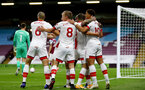 BURNLEY, ENGLAND - SEPTEMBER 26: southampton players celebrating together after Danny Ings scores opening goal during the Premier League match between Burnley and Southampton at Turf Moor on September 26, 2020 in Burnley, United Kingdom. Sporting stadiums around the UK remain under strict restrictions due to the Coronavirus Pandemic as Government social distancing laws prohibit fans inside venues resulting in games being played behind closed doors. (Photo by Matt Watson/Southampton FC via Getty Images)