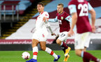 BURNLEY, ENGLAND - SEPTEMBER 26: Jannik Vestergaard (L) of Southampton and Matej Vydra (R) of Burnley during the Premier League match between Burnley and Southampton at Turf Moor on September 26, 2020 in Burnley, United Kingdom. Sporting stadiums around the UK remain under strict restrictions due to the Coronavirus Pandemic as Government social distancing laws prohibit fans inside venues resulting in games being played behind closed doors. (Photo by Matt Watson/Southampton FC via Getty Images)