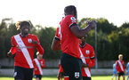 SOUTHAMPTON, ENGLAND - SEPTEMBER 26: Dan N'Lundulu celebrating first goal during Premier League 2 Match between Southampton B Team and West Ham United at Staplewood Training Ground on September 26, 2020 in Southampton, England. (Photo by Isabelle Field/Southampton FC via Getty Images)