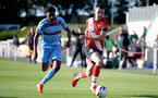 SOUTHAMPTON, ENGLAND - SEPTEMBER 26: Sean Adarkwa (L) of West Ham and Tom O'Connor (R) of Southampton during Premier League 2 Match between Southampton B Team and West Ham United at Staplewood Training Ground on September 26, 2020 in Southampton, England. (Photo by Isabelle Field/Southampton FC via Getty Images)
