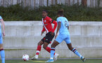 SOUTHAMPTON, ENGLAND - SEPTEMBER 26: Kayne Ramsay (L) of Southampton and Ossama Ashley (R) of West Ham during Premier League 2 Match between Southampton B Team and West Ham United at Staplewood Training Ground on September 26, 2020 in Southampton, England. (Photo by Isabelle Field/Southampton FC via Getty Images)