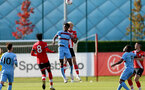 SOUTHAMPTON, ENGLAND - SEPTEMBER 26: Sean Adarkwa (L) of West Ham battling for the ball in the air with Christoph Klarer (R) of Southampton during Premier League 2 Match between Southampton B Team and West Ham United at Staplewood Training Ground on September 26, 2020 in Southampton, England. (Photo by Isabelle Field/Southampton FC via Getty Images)