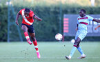 SOUTHAMPTON, ENGLAND - SEPTEMBER 26: Dan N'Lundulu (L) of Southampton and Emmanuel Longelo (R) of West Ham during Premier League 2 Match between Southampton B Team and West Ham United at Staplewood Training Ground on September 26, 2020 in Southampton, England. (Photo by Isabelle Field/Southampton FC via Getty Images)