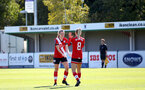 Southampton, ENGLAND - SEPTEMBER 27: Ella Pusey (L) celebrates with Phoebe Williams (R) on her first goal during the FAWNL match between Southampton Women and Buckland Athletic at Snows Stadium on September 27, 2020 in Southampton, United Kingdom (Photo by Isabelle Field/Southampton FC via Getty Images)