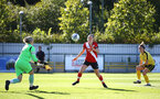 Southampton, ENGLAND - SEPTEMBER 27: Ella Pusey (center) of Southampton during the FAWNL match between Southampton Women and Buckland Athletic at Snows Stadium on September 27, 2020 in Southampton, United Kingdom (Photo by Isabelle Field/Southampton FC via Getty Images)