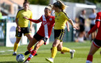 Southampton, ENGLAND - SEPTEMBER 27: Phoebe Williams (L) of Southampton during the FAWNL match between Southampton Women and Buckland Athletic at Snows Stadium on September 27, 2020 in Southampton, United Kingdom (Photo by Isabelle Field/Southampton FC via Getty Images)