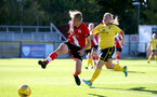 Southampton, ENGLAND - SEPTEMBER 27: Shannon Albuery (L) of Southampton during the FAWNL match between Southampton Women and Buckland Athletic at Snows Stadium on September 27, 2020 in Southampton, United Kingdom (Photo by Isabelle Field/Southampton FC via Getty Images)
