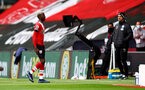 SOUTHAMPTON, ENGLAND - OCTOBER 04: Moussa Djenepo of Southampton leaves the pitch with an injury during the Premier League match between Southampton and West Bromwich Albion at St Mary's Stadium on October 04, 2020 in Southampton, United Kingdom. Sporting stadiums around the UK remain under strict restrictions due to the Coronavirus Pandemic as Government social distancing laws prohibit fans inside venues resulting in games being played behind closed doors. (Photo by Matt Watson/Southampton FC via Getty Images)