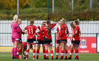 SOUTHAMPTON, ENGLAND - OCTOBER 11: Southampton players  ahead of the FAWNL match between Southampton Women and Exeter City at Snows Stadium on October 11, 2020 in Southampton, England. (Photo by Isabelle Field/Southampton FC via Getty Images)