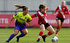 SOUTHAMPTON, ENGLAND - OCTOBER 11: Georgie Freeland (R) of Southampton during FAWNL match between Southampton Women and Exeter City at Snows Stadium on October 11, 2020 in Southampton, England. (Photo by Isabelle Field/Southampton FC via Getty Images)