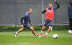 SOUTHAMPTON, ENGLAND - OCTOBER 12: Oriol Romeu(L) nd Jake Vokins during a Southampton FC training session at the Staplewood Campus on October 12, 2020 in Southampton, England. (Photo by Matt Watson/Southampton FC via Getty Images)
