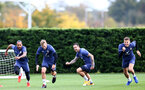 SOUTHAMPTON, ENGLAND - OCTOBER 21: Theo Walcott (L), James Ward-Prowse, Danny Ings and Jan Bednarek (R) during a Southampton FC Training session at the Staplewood Complex on October 21, 2020 in Southampton, England. (Photo by Isabelle Field/Southampton FC via Getty Images)