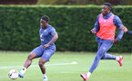 SOUTHAMPTON, ENGLAND - OCTOBER 21: Michael Obafemi (L) and Dan N'Lundulu (R) during a Southampton FC Training session at the Staplewood Complex on October 21, 2020 in Southampton, England. (Photo by Isabelle Field/Southampton FC via Getty Images)