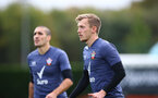 SOUTHAMPTON, ENGLAND - OCTOBER 23: Oriol Romeu(L) and James Ward-Prowse during a Southampton FC training session at the Staplewood Campus on October 23, 2020 in Southampton, England. (Photo by Matt Watson/Southampton FC via Getty Images)
