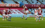 BIRMINGHAM, ENGLAND - NOVEMBER 01: Jannik Vestergaard of Southampton heads his team into a 1-0 lead during the Premier League match between Aston Villa and Southampton at Villa Park on November 01, 2020 in Birmingham, England. Sporting stadiums around the UK remain under strict restrictions due to the Coronavirus Pandemic as Government social distancing laws prohibit fans inside venues resulting in games being played behind closed doors. (Photo by Matt Watson/Southampton FC via Getty Images)
