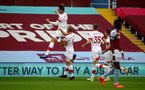 BIRMINGHAM, ENGLAND - NOVEMBER 01: Jannik Vestergaard(L) of Southampton celebrates after opening the scoring during the Premier League match between Aston Villa and Southampton at Villa Park on November 01, 2020 in Birmingham, England. Sporting stadiums around the UK remain under strict restrictions due to the Coronavirus Pandemic as Government social distancing laws prohibit fans inside venues resulting in games being played behind closed doors. (Photo by Matt Watson/Southampton FC via Getty Images)