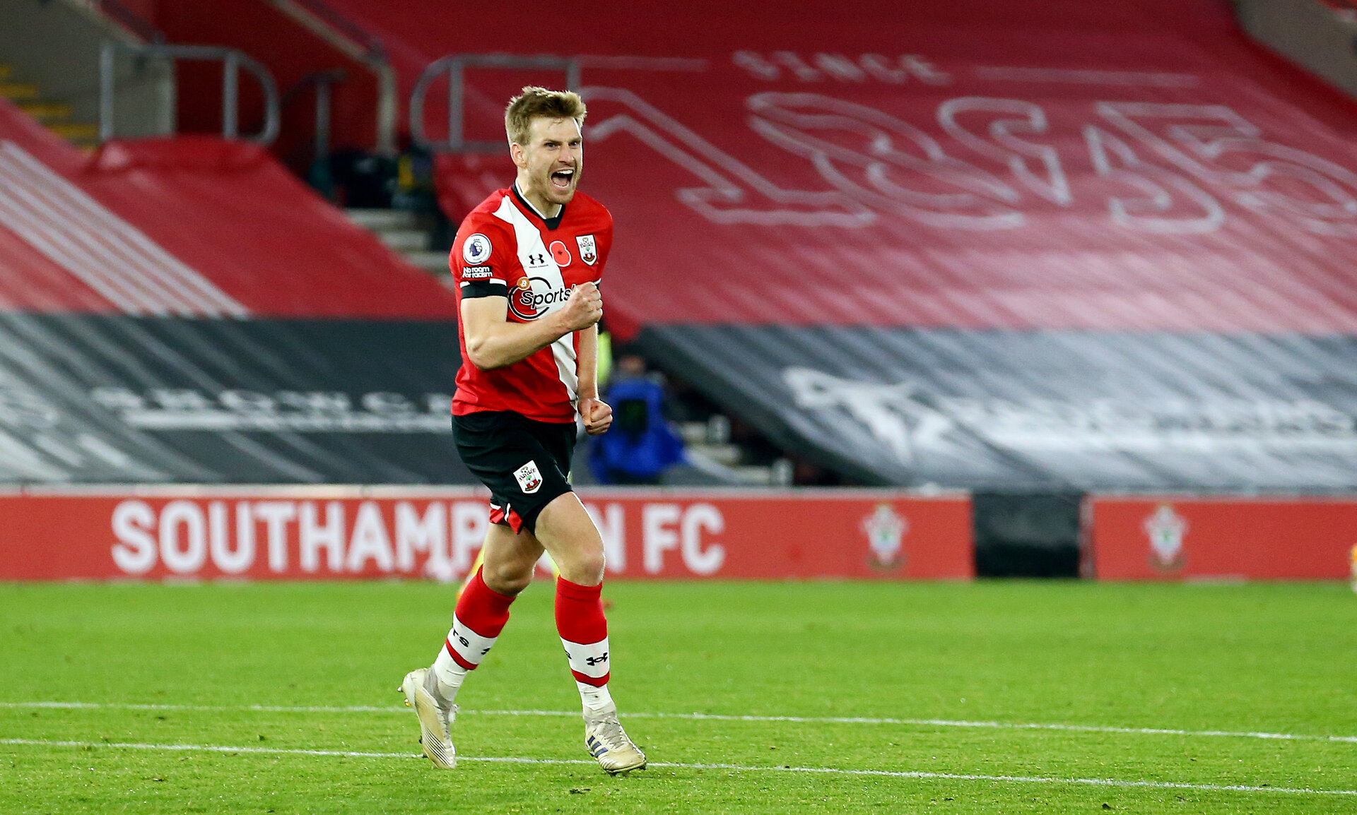 SOUTHAMPTON, ENGLAND - NOVEMBER 06: Stuart Armstrong of Southampton celebrates after making it 2-0 during the Premier League match between Southampton and Newcastle United at St Mary's Stadium on November 06, 2020 in Southampton, England. Sporting stadiums around the UK remain under strict restrictions due to the Coronavirus Pandemic as Government social distancing laws prohibit fans inside venues resulting in games being played behind closed doors. (Photo by Matt Watson/Southampton FC via Getty Images)