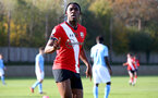 SOUTHAMPTON, ENGLAND - NOVEMBER 07: Dan N'Lundulu of Southampton celebrates his second goal of the game during the Premier League 2 match between Southampton FC B Team and Manchester City at Staplewood Training Ground on November 07, 2020 in Southampton, England. (Photo by Isabelle Field/Southampton FC via Getty Images) (Photo by Isabelle Field/Isabelle Field)
