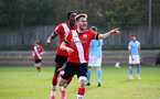 SOUTHAMPTON, ENGLAND - NOVEMBER 07: Jake Vokins of Southampton goal celebration during the Premier League 2 match between Southampton FC B Team and Manchester City at Staplewood Training Ground on November 07, 2020 in Southampton, England. (Photo by Isabelle Field/Southampton FC via Getty Images) (Photo by Isabelle Field/Isabelle Field)