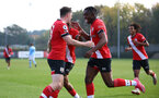 SOUTHAMPTON, ENGLAND - NOVEMBER 07: Will Ferry(L) of Southampton celebrates his goal with Dan N'Lundulu(R) of Southampton during the Premier League 2 match between Southampton FC B Team and Manchester City at Staplewood Training Ground on November 07, 2020 in Southampton, England. (Photo by Isabelle Field/Southampton FC via Getty Images) (Photo by Isabelle Field/Isabelle Field)