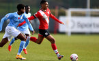 SOUTHAMPTON, ENGLAND - NOVEMBER 07: Yan Valery (R) of Southampton during the Premier League 2 match between Southampton FC B Team and Manchester City at Staplewood Training Ground on November 07, 2020 in Southampton, England. (Photo by Isabelle Field/Southampton FC via Getty Images) (Photo by Isabelle Field/Isabelle Field)