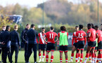 SOUTHAMPTON, ENGLAND - NOVEMBER 07: Ralph Hasenhuttl Southampton manager talking to the B Team players at the end of the Premier League 2 match between Southampton FC B Team and Manchester City at Staplewood Training Ground on November 07, 2020 in Southampton, England. (Photo by Isabelle Field/Southampton FC via Getty Images) (Photo by Isabelle Field/Isabelle Field)
